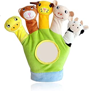 Mumoo Bear Educational Puppets Toy Glove Cartoon Animal Finger Baby Story Time Props Soft Educational Dolls Toys