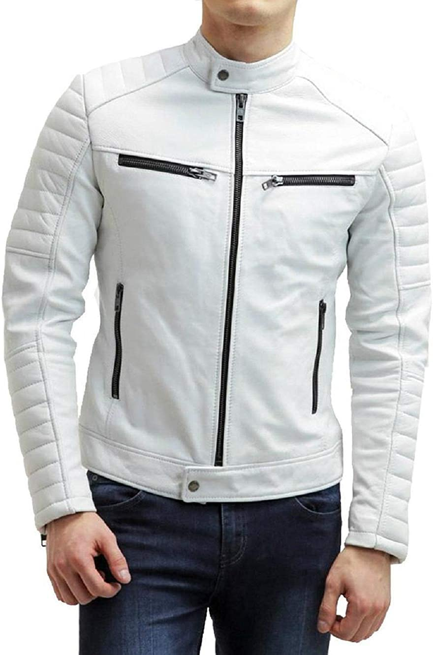 GROLANTA Very popular 100% Slim Fit Leather Jacket for Cheap mail order shopping Men Wi - Bomber Biker