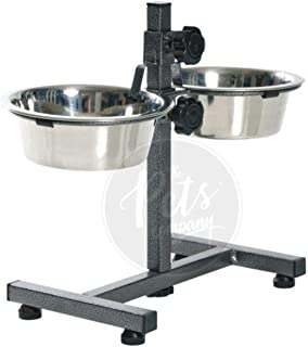 The Pets Company Dog Feeding Bowl with Adjustable Stand, Dog Elevated Diner with Stainless Steel Bowl Set, (Set of 2 Bowls...