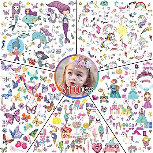 Konsait 310pcs Tatouages Temporaires pour Enfant, 20 Feuilles 5 Série Faux Tatouages ephémères Enfants Filles, Sirène, Princesse, Doux, Licorne, Papillon, Enfant fête d'anniversaire Cadeau Pinata