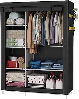 UDEAR Closet Organizer Wardrobe Clothes Storage Shelves, No-Woven Fabric Cover with Side Pockets,Black