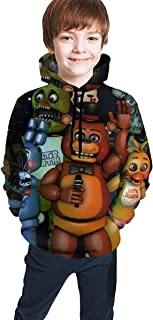 Kmehsv Five Nights at Freddy FNAF Fun Teen Hooded Sweate Black Confortable Chica Clásica de Niño