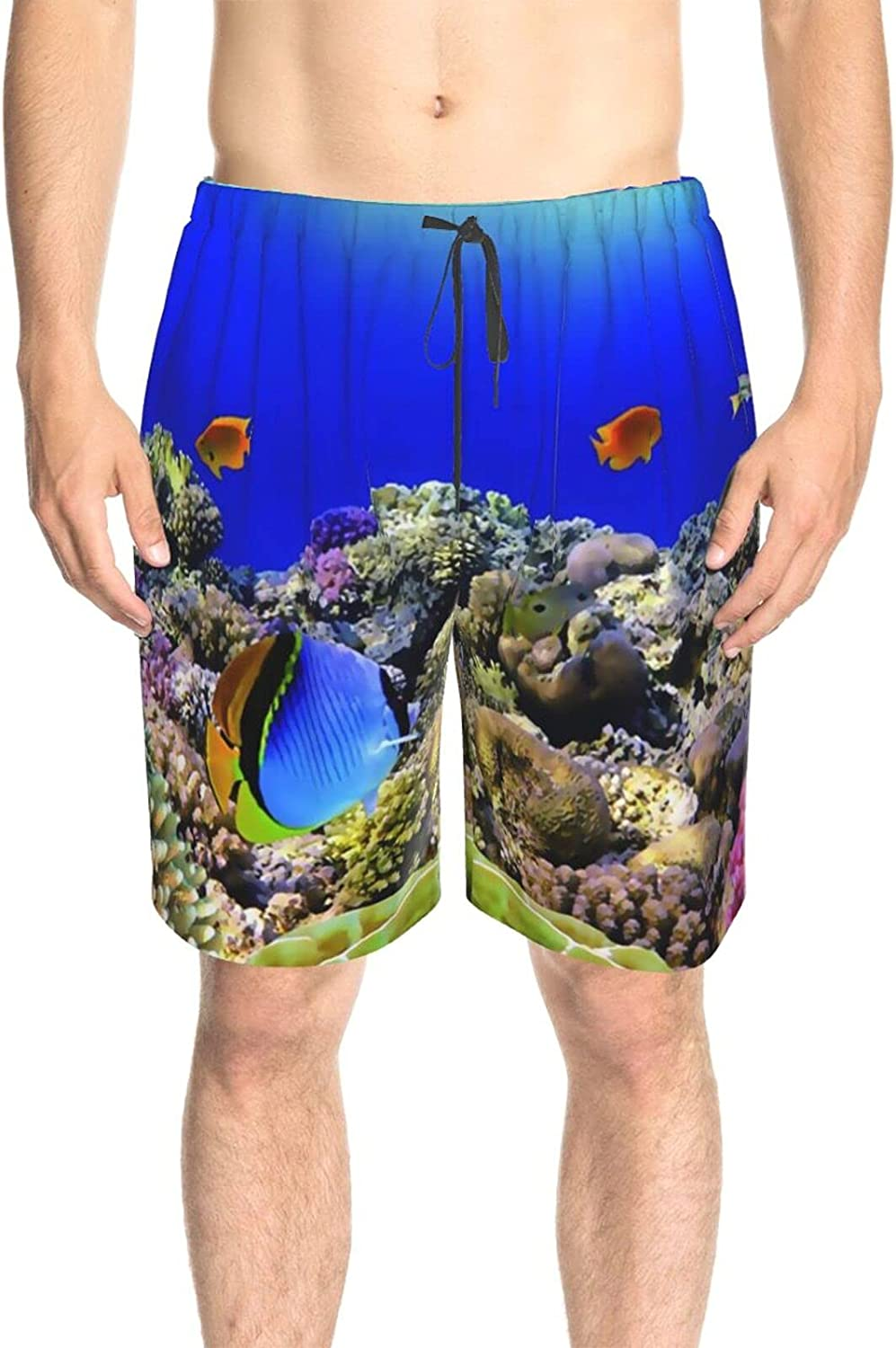 JINJUELS Mens Bathing Suits Wild Life Sea Colorful Swim Board Shorts Quick Dry Cool Summer Beach Shorts with Liner