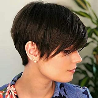 Queentas Pixie Cut Bob Short Wigs with Bangs Layered Straight Heat Resistant Synthetic Hair Wig for White Women (Dark Brown)