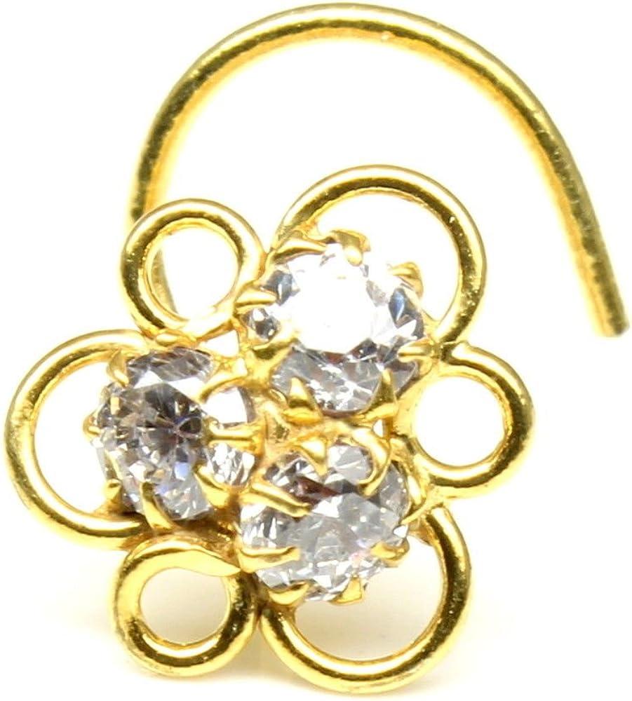 Karizma Jewels Ethnic Nose Stud,White CZ Stone Nose Stud, Corkscrew Nose Piercing Ring