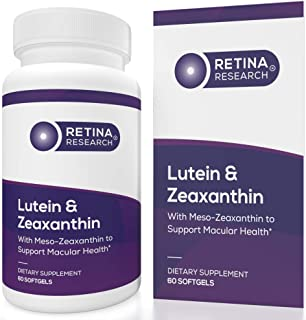 Retina Research Lutein & Zeaxanthin Supplement - Contains Naturally Occurring Meso Zeaxanthin to Support Central Macula - ...