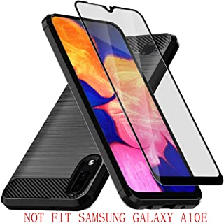 E-outfit Galaxy A10 Case, with Tempered Glass Screen Protector, Slim Soft TPU Protective Rubber Bumper Case Cover for Samsung Galaxy A10 Phone (Black)