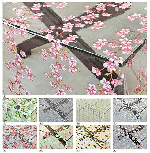 emmevi Tabla transparente moderna antimanchas, varios tamaños, diseño plastificado de PVC, funda protectora de mesa a medida, modelo Kristal estampado (E) 140 x 200
