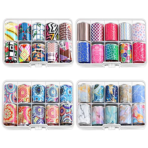 Newthinking Nail Transfer Foil, 40 Rolls Starry Sky Stickers Nail Art Polish Stickers Acrylic Nail Art Supplies Diy Nail Decoration Kit for Women at Home