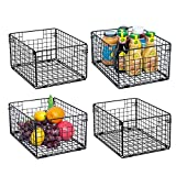 X-cosrack Foldable Cabinet Wall Mount Metal Wire Basket Organizer Pantry Basket with Handles - 4 Pack -12' x 9' X 6', Food Storage Mesh Bin for Kitchen Bathroom Laundry Closet Garage Patent Applied