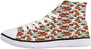 Floral Stylish High Top Canvas Shoes,Tree Pattern with Leaves Inside Circles Monochrome Mother Earth Artful Illustration for Men & Boys,US 6.5
