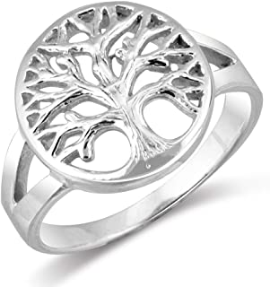 MIMI 925 Sterling Silver Open Tree Of Life Ring Size 5, 6, 7, 8, 9, 10, 11, 12
