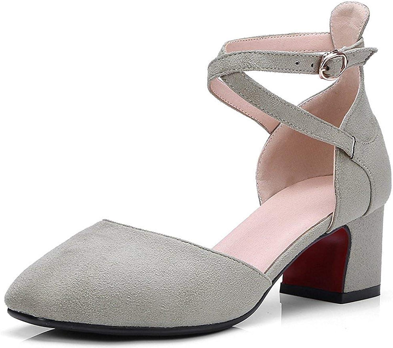 Gcanwea Women's Sweet Square Toe Buckle Cross Strap Mid Block Heel Pumps shoes Green 6 M US