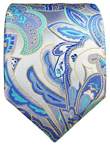 Cravate homme bleu paisley ensemble de cravate 3 Pièces (longueur 165cm)