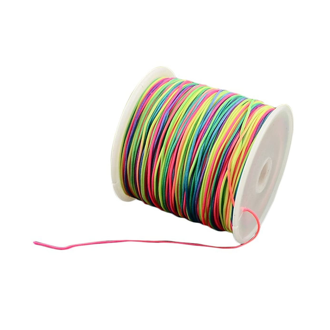 arricraft 1 Roll 0.5mm Braided Nylon Cord Colorful Imitation Silk String Thread for DIY Craft and Jewelry Making
