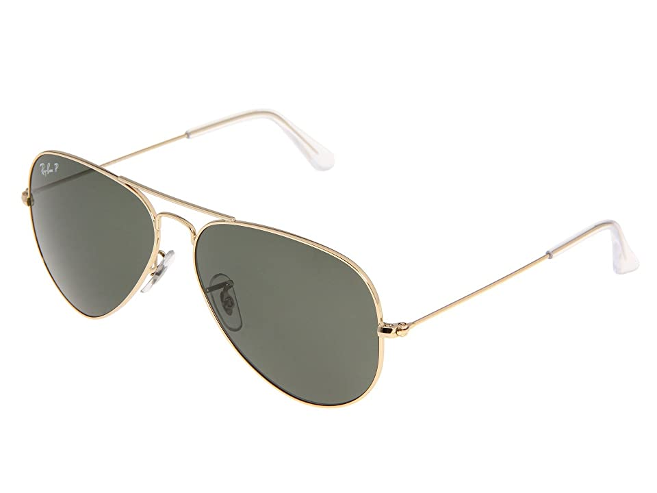 1940s Sunglasses, Glasses & Eyeglasses History Ray-Ban RB3025 Original Aviator Polarized 58mm AristaNatural Green Polarized Lens Sport Sunglasses $203.00 AT vintagedancer.com