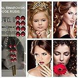 Bijoux cheveux ornés de strass Swarovski ROUGE RUBIS. 16 strass + 2 GRANDES PLANCHES DE TATOUAGES GRATUITES. Accessoires de...