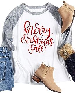 HRIUYI Women Merry Christmas Y'all Shirts O-Neck Baseball T-Shirt 3/4 Raglan Sleeve Casual Tees