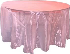 """LA Linen Sheer Mirror Organza Round Tablecloth, 132"""", Hot Pink"""