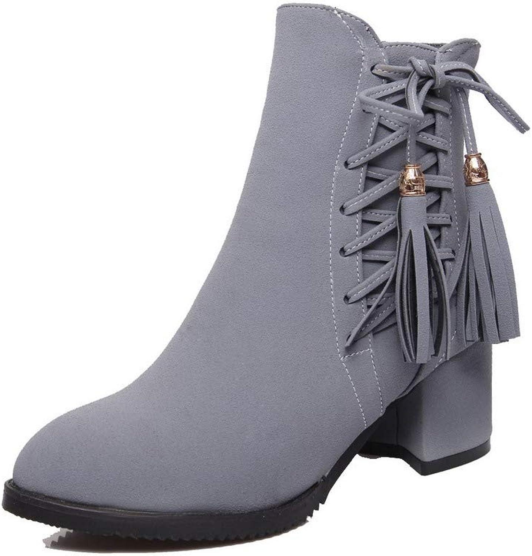 WeenFashion Women's Low-Top Solid Zipper Closed-Toe Kitten-Heels Boots, AMGXX023924