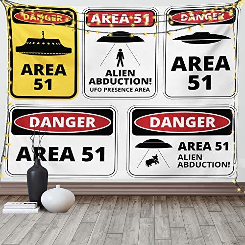 Lunarable Weltraum-Tapisserie Queen Size, Comic Alien Abduktion Schilder Komposition Area 51 UFO Präsenz Fantasy Concept, Wandbehang Tagesdecke Bettüberwurf Wanddekoration, 223,5 x cm, Schwarz Rot