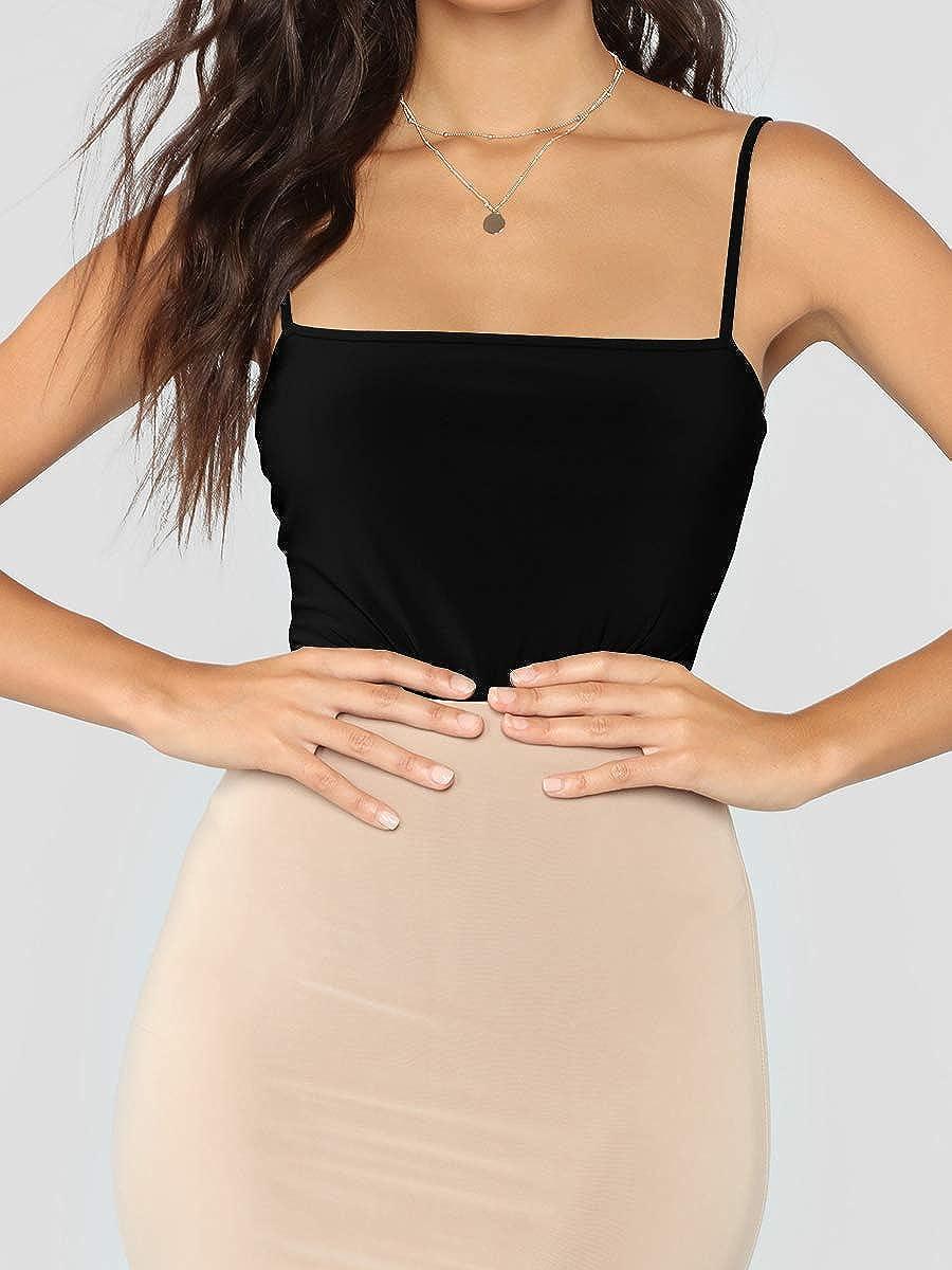 MANGDIUP Women's Square Neck Backless Camisole Adjustable Spaghetti Strap Bodysuit