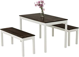 Mecor 3-Piece Dining Set Table with 2 Benches, Solid Pine...