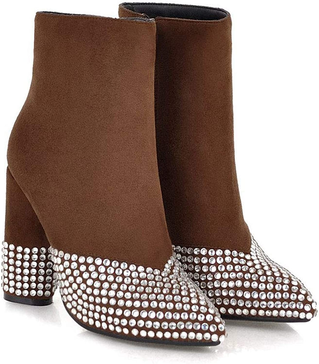 Fashion Rivet Ankle Boots, High Heel Pointed Thick with Low Boots Side Zipper Matte Martin Boots Waterproof Platform Ladies Cotton shoes