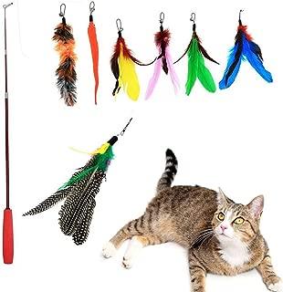 猫のおもちゃ 猫じゃらし じゃれ猫 猫釣り竿 天然鳥の羽棒鈴付き 羽根(7羽) 伸縮できる 釣り竿(1本)
