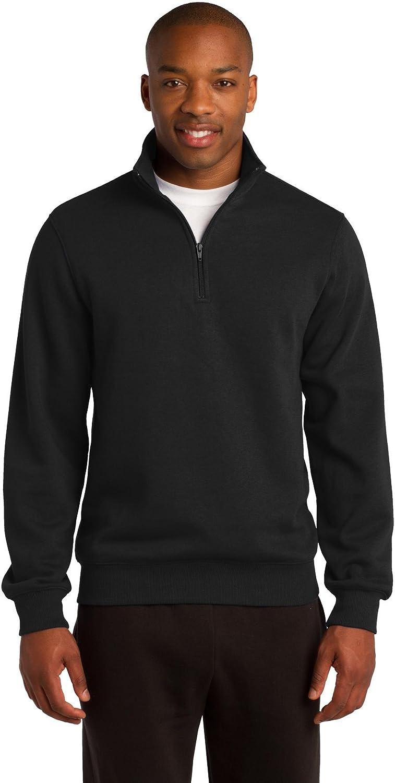 Sport-Tek Mens Tall 1/4-Zip Sweatshirt, LT, Black