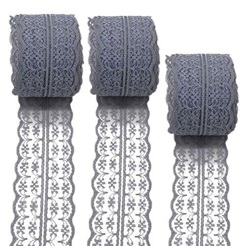 3 rollos de cinta de encaje floral elástica de encaje elástica para manualidades, joyería, manualidades, accesorios de boda, regalo de regalo, gris, 45mm x10m