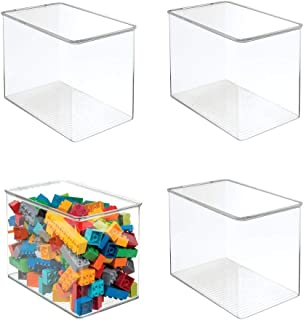 mDesign Kids/Baby Toy Storage Box for Blocks Play Kitchen Pieces Costumes - Pack of 4 Tall Clear …
