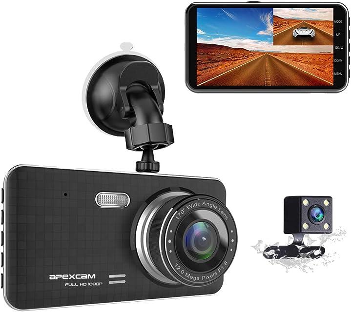 Apexcam Cámara de Coche Dash CAM 4.0 IPS 1080p FHD Lente doble Conducir grabadora 170 ° Gran angular G-Sensor WDR Grabación de bucle DVR Monitor de estacionamiento Visión nocturna