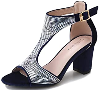 Women's T-Strap Sandals Rhinestones Peep Toe Chunky Heeled Summer Dress Wedding Party Sexy Velvet Block Heels Pumps Shoes