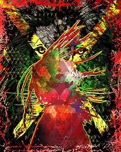Castle & Rye Reggae Jamaica Lion Wall Art Giclee Print for Living Room or Bedroom with Thick Wooden Frame and Pre-Applied Hanging Hardware Ready to Hang