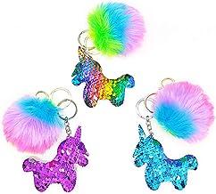 3Pcs/sets Unicorn Gifts Sequin Keyring Plush Pink Fluffy Rainbow Keychain for girls, kids, women, Handbag Bag Pendant Chri...