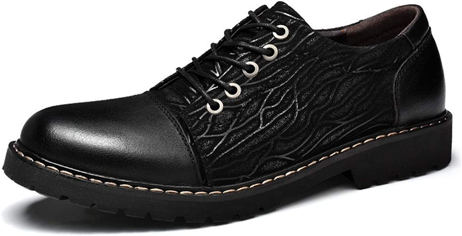 FuweiEncore 2018 Mens Business Oxford shoes, Casual Personality Embossed OX Leather Soft And Bendable Formal shoes (color  Black, Size  44 EU) (color   Black, Size   44 EU)