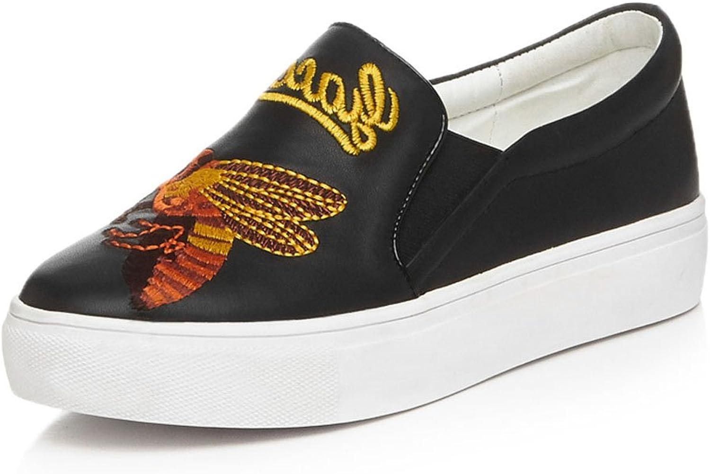 Cuckoo Causal läder Bee Broderier Broderier Broderier Round Toe Platform Pump skor  mode varumärken