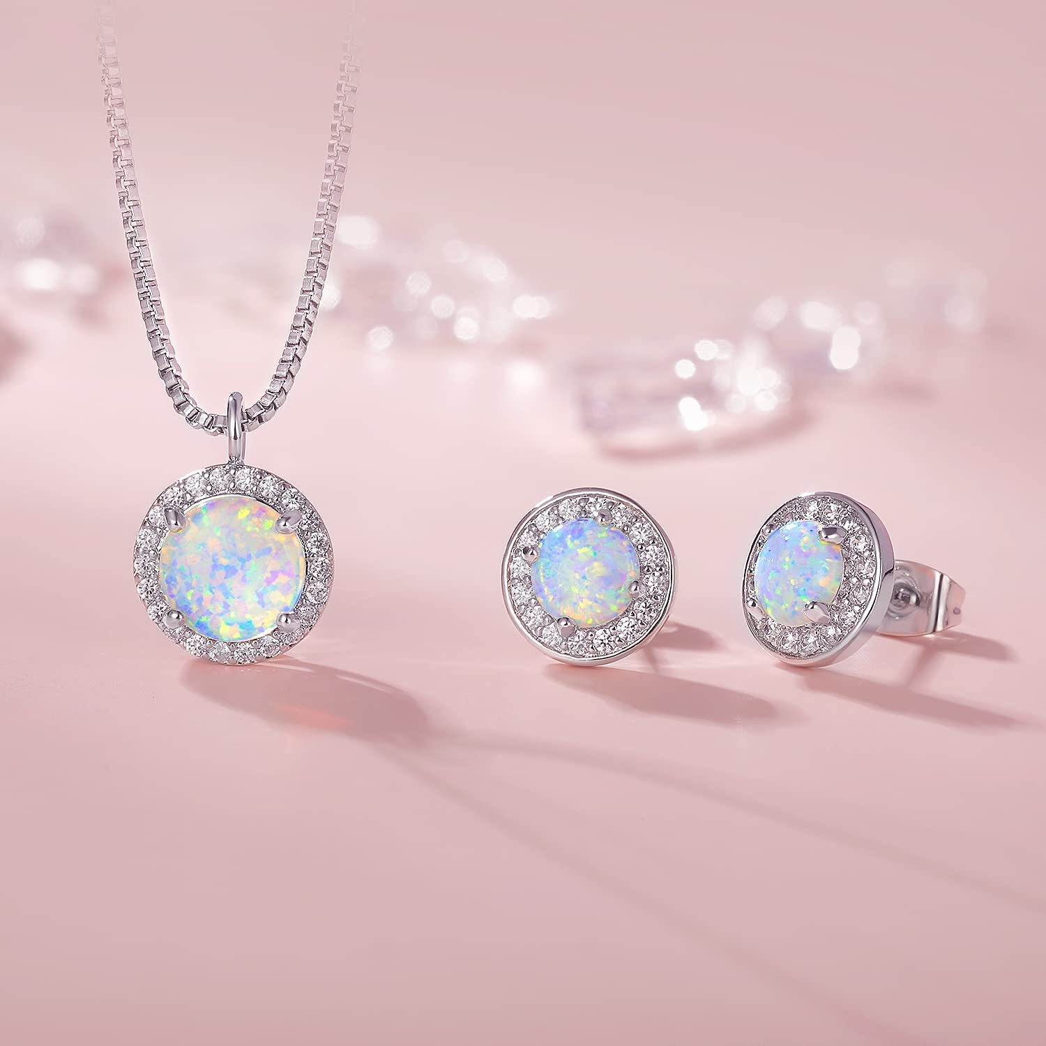 White Gold Opal Jewelry with Cubic Zirconia,Opal Necklace and Earring Set for Women and Girl(necklace and stud earring)