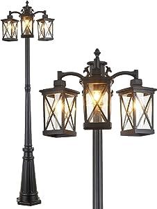CMRCOZIRA Modern Outdoor Street Light, 3-Head Post Lights, Outdoor Lamp Post Waterproof, Outdoor Lamp Post Lights with Clear Glass, Street Lantern 3 Light in Black for Exterior Yard Driveway Frontyard