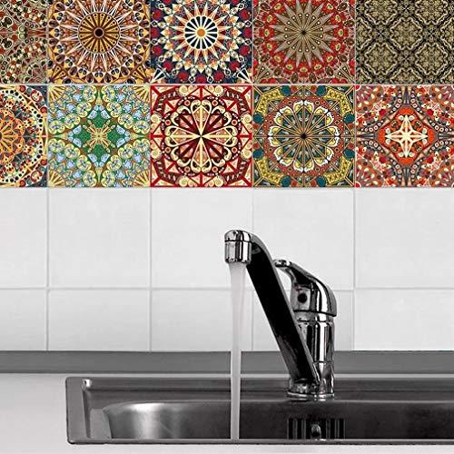 JYKFJ Pegatinas de baño, 20 Piezas de Cocina para Pegar y Pegar Azulejos de Pared diseños Rojos Retro de Moda Estilo marroquí Retro Estilo Tradicional Envejecido Estilo Mosaico