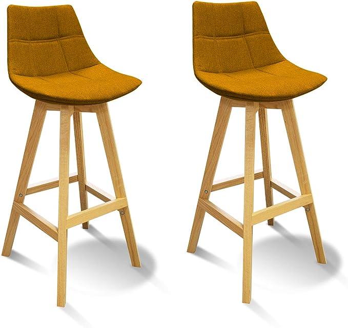 Meubletmoi Tabourets de Bar scandinave avec Dossier Tissu Jaune et piètement Bois Naturel Chaise Haute Confortable et Solide Lot DE 2 Wendy