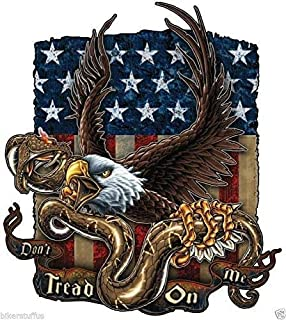 MFX Design Don't Tread On Me with Eagle and American Flag Sticker Decal Bumper Sticker Decal Toolbox Sticker Decal Laptop Sticker Decal Vinyl - Made in USA 5 in. x 4.5 in.