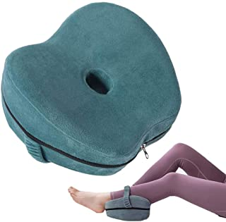 Loodial Knee Pillow for Side Sleeper - Ergonomically Designed for Leg Pain, Sciatic Nerve Pain Relief, Back Pain, Pregnancy, Hip and Joint Pain - Upgrade Memory Foam Leg Pillow Strap Cover (Lake Blue)