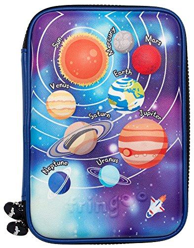 Fringoo® großes Federmäppchen für Kinder, Hartschale, geprägter Einband, mehrere Fächer, Doppelreißverschluss, niedliches Design