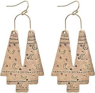 Zealmer Gudukt Boho Ethnic Earrings Hollow Out Fan Shape Geometric Drop Earrings for Women