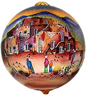 Home and Holiday Shops Lawrence Vargas Taos Pueblo New Mexico Reverse Painted Glass Christmas Ornament