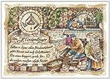 Die Staffelei Geschenk Karte Berufsbild Fliesenleger Zeichnung mit Gedicht, 30 x 21 cm -