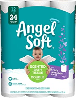 ANGEL SOFT Toilet Paper Bath Tissue, 12 Double Rolls, 240+ 2-Ply Sheets with Fresh Lavender Scented Tube