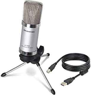 USB Microphone, Alvoxcon Unidirectional Condenser Mic for Computer, PC (Mac/Windows), Podcasting, Vlog, Youtube, Studio Recording, Skype, Stream, Voice Over, Vocal Dictation with Desktop Tripod Stand